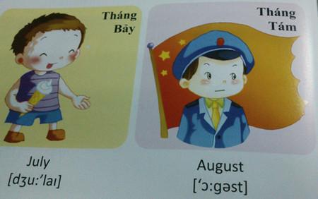 """""""Gieo"""" vào nhận biết của trẻ hình ảnh cờ Trung Quốc trong cuốn Tiếng Anh nhập môn (tập 1, trang 38)."""