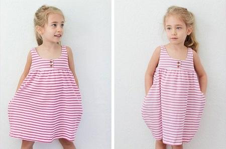 Bạn có thể dễ dàng may hàng loạt cho bé nhà mình những chiếc đầm mát mặc hè rất dễ chịu.