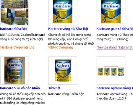 Sản phẩm sữa Karicare vẫn đang được rao bán trên các trang mạng.