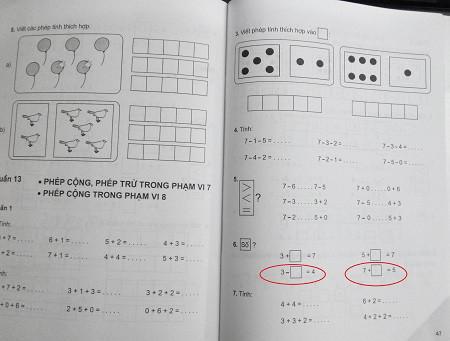 """Hai phép tính """"lạ"""" khiến học sinh lớp 1 """"bó tay""""."""