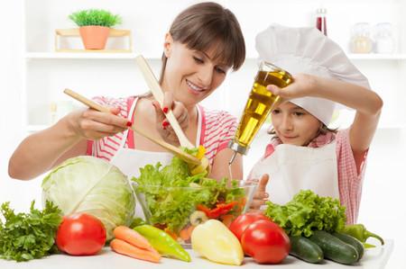 Preparing fresh vegetable salad